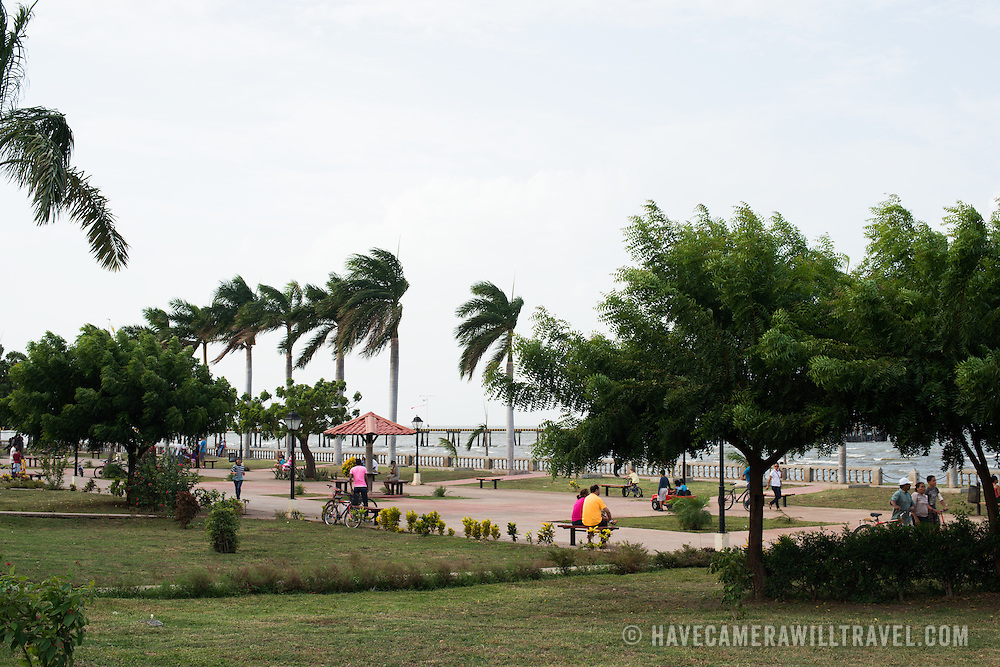 Locals enjoying the public park space along the waterfront of Lake Nicaragua in Granada.
