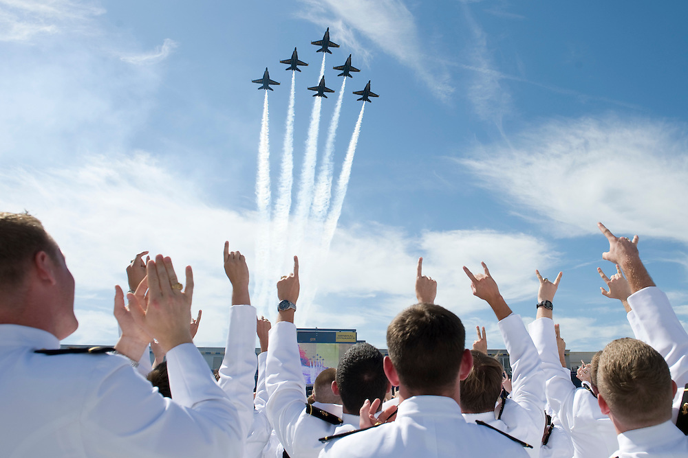 The Navy's Blue Angel flying team flies over the Naval Academy graduation ceremony at Navy-Marine Corps Memorial Stadium in Annapolis Maryland in Washington, DC, USA on 22 May 2009. US President Barack Obama delivered the commencement address to the graduates.