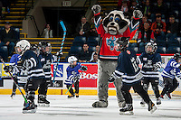 KELOWNA, CANADA - NOVEMBER 15: Rocky Racoon, the mascot of the Kelowna Rockets and mini minor hockey players on November 15, 2016 at Prospera Place in Kelowna, British Columbia, Canada.  (Photo by Marissa Baecker/Shoot the Breeze)  *** Local Caption ***