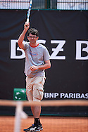 Warsaw, Poland - 2016 June 04: Tomasz Baranski looks at the ball while competition for the fastest serve during 55. Tennis Polish Championships of Journalists at Legia Tennis Club June 04, 2016 in Warsaw, Poland.<br /> <br /> Adam Nurkiewicz declares that he has no rights to the image of people at the photographs of his authorship.<br /> <br /> Picture also available in RAW (NEF) or TIFF format on special request.<br /> <br /> Any editorial, commercial or promotional use requires written permission from the author of image.<br /> <br /> Mandatory credit:<br /> Photo by © Adam Nurkiewicz
