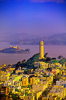 Coit Tower and Alcatraz, San Francisco, California USA