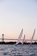 Argument, Osprey, and Surprise sailing in the Herreshoff S Class division of the Newport Yacht Club Tuesday night racing series.