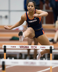 Chidimma Uche (Virginia) races in the women's 55m hurdles.  Day 1 of the Virginia Tech Invitational Track and Field meet was held at the Rector Field House on the campus of Virginia Tech in Blacksburg, VA on January 11, 2008.