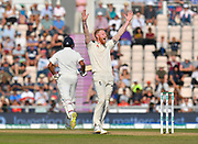 Wicket - Ben Stokes of England celebrates after successfully appealing for an LBW against Ishant Sharma of India during the 4th day of the 4th SpecSavers International Test Match 2018 match between England and India at the Ageas Bowl, Southampton, United Kingdom on 2 September 2018.