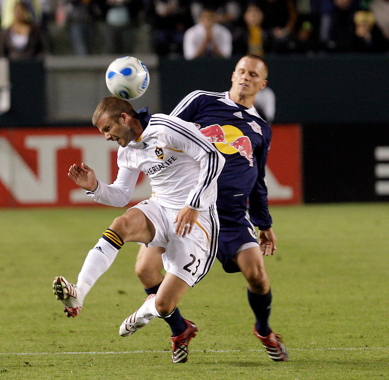 David Beckham of the Los Angeles Galaxy plays against the New York Red Bulls at the Home Depot Center in Carson USA 28 October  2007.