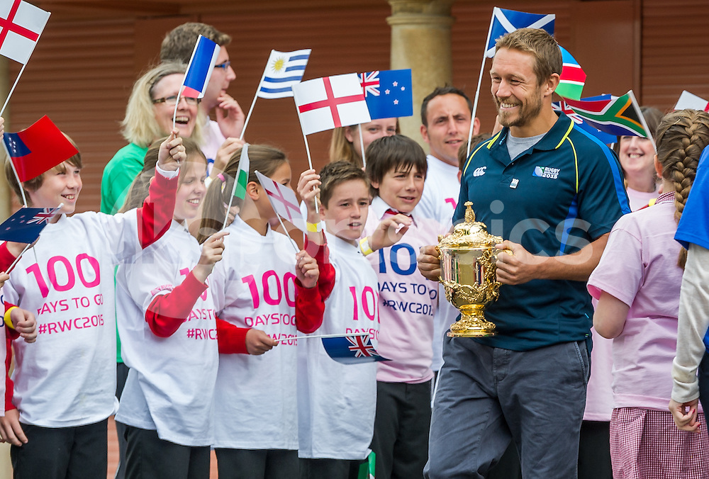 Jonny Wilkinson with the Web Ellis Cup and local school kids during the 100 Days To Go Rugby World Cup 2015 Trophy Tour Launch  at Twickenham Stadium, Twickenham, United Kingdom on 10 June 2015. Photo by Vince  Mignott.