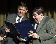 Philadelphia City Councilman Frank Rizzo, Jr., gives Kal Rudman a special gift from City Council after Rudman received his plaque on Philadelphia's Walk of Fame, Friday, Nov. 17, 2000, in Philadelphia. (Photo by William Thomas Cain/www.photojournalist.cc)