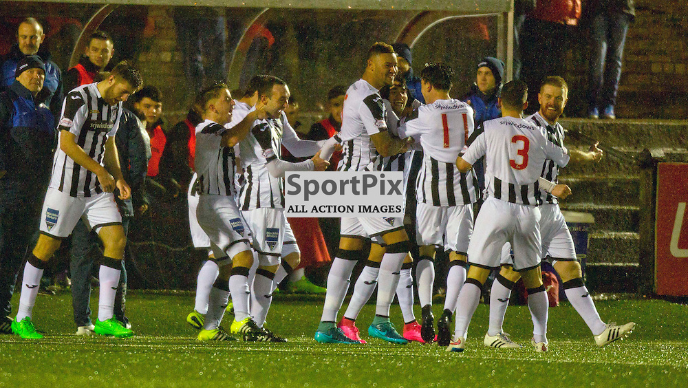 Forfar Athletic v Dunfermline Athletic SPFL League One Season 2015/16 Station Park 26 December 2015<br /> faissal El Bahktoui celebrates with his team mates after making it 2-1<br /> CRAIG BROWN | sportPix.org.uk