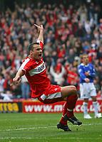 Photo: Andrew Unwin.<br />Middlesbrough v Everton. The Barclays Premiership. 14/10/2006.<br />Middlesbrough's Mark Viduka celebrates scoring his team's second goal.
