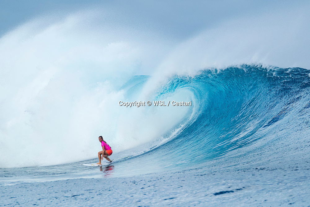 Courtney Conlogue of the USA is the 2017 Outerknown Fiji Women's Pro WINNER after defeating Tatiana Weston-Webb of Hawaii in a history making final in excellent conditions at Cloudbreak, Fiji.  The win is Conlogues second of the season.
