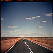 Picture taken with a Holga. The road to Uluru, Ayers Rock.
