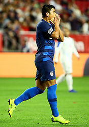 January 27, 2019 - Glendale, AZ, U.S. - GLENDALE, AZ - JANUARY 27: United States of America defender Nick Lima (2) reacts to missing a shot during the international friendly between the United States Men's National Team and Panama on January 27th, 2019 at State Farm Stadium in Glendale, AZ (Photo by Adam Bow/Icon Sportswire) (Credit Image: © Adam Bow/Icon SMI via ZUMA Press)