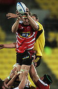Lions lock Franco van der Merwe takes lineout ball. Super 15 rugby match - Hurricanes v Lions at Westpac Stadium, Wellington, New Zealand on Saturday, 4 June 2011. Photo: Dave Lintott / photosport.co.nz