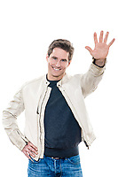 one  man mature handsome portrait saluting high five studio white background