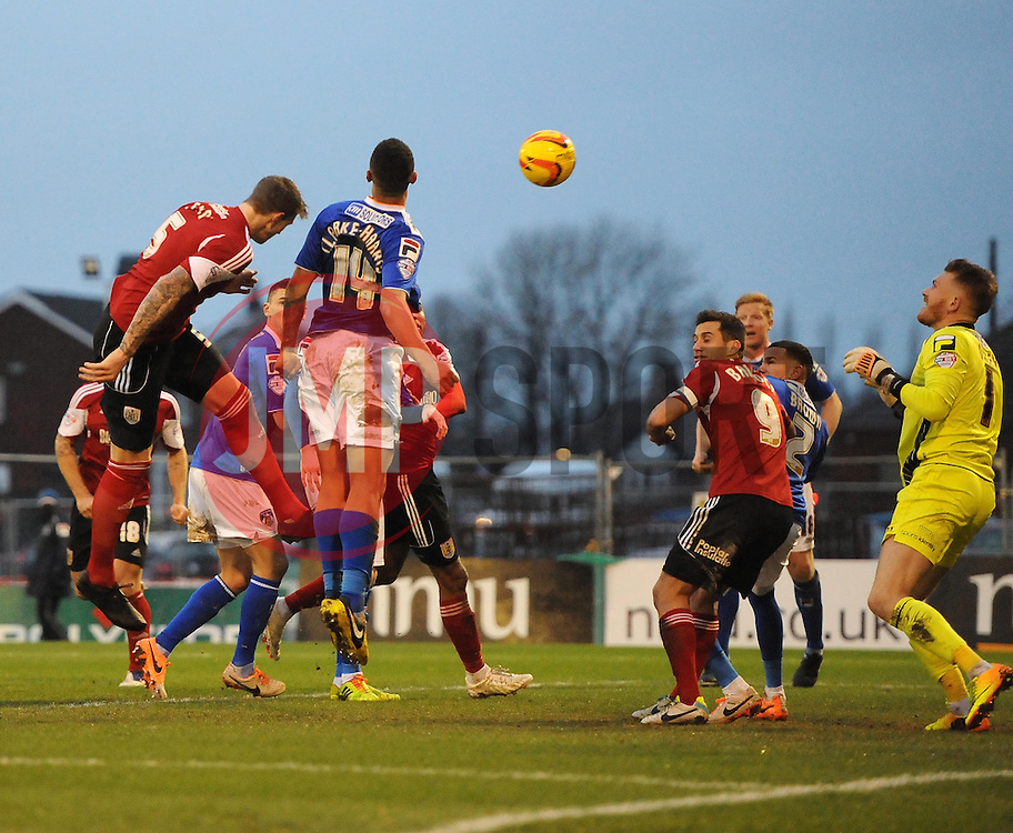 Bristol City's Aden Flint  goes close late on - Photo mandatory by-line: Joe Meredith/JMP - Tel: Mobile: 07966 386802 08/02/2014 - SPORT - FOOTBALL - Oldham - Boundary Park - Oldham Athletic v Bristol City - Sky Bet League One