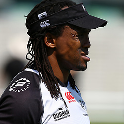 DURBAN, SOUTH AFRICA - SEPTEMBER 19: Odwa Ndungane during the Cell C Sharks training session at Growthpoint Kings Park on September 19, 2017 in Durban, South Africa. (Photo by Steve Haag/Gallo Images)