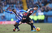 Beram Kayal, Brighton midfielder and Jacques Maghoma, Sheffield Wednesday midfielder during the Sky Bet Championship match between Sheffield Wednesday and Brighton and Hove Albion at Hillsborough, Sheffield, England on 14 February 2015.