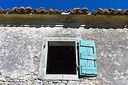 Derelict house ruins in ancient village of Old Perithia - Palea Peritheia, Northern Corfu, Greece