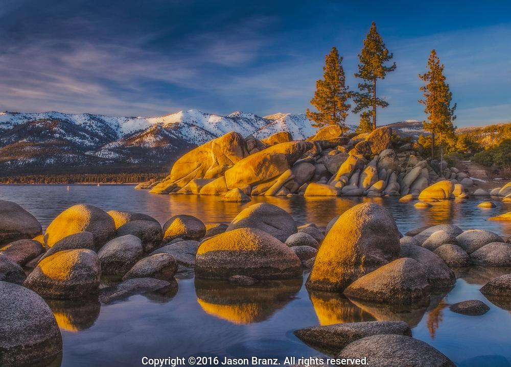 Warm sunset light on granite boulders, Sand Harbor State Park, Nevada.