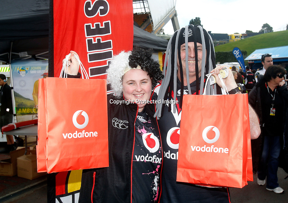 Vodafone fans and supporters at the Warriors v Sharks match at Mt Smart Stadium on Sunday 5 August 2012. Photo: Shane Wenzlick/photosport.co.nz