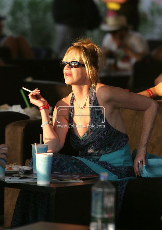 26th April 2008, Coachella, California. Melanie Griffith, at the Coachella Music festival. PHOTO © JOHN CHAPPLE / REBEL IMAGES