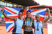 Silver medalist Shara PROCTOR, gold medalist Abigail IROZURU and bronze medalist Jazmin SAWYERS after the Women's Long Jump Final during the Muller British Athletics Championships at Alexander Stadium, Birmingham, United Kingdom on 25 August 2019.
