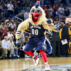 Oct 30, 2013; New Orleans, LA, USA; New Orleans Pelicans mascot Pierre the Pelican is unveiled during the first quarter of a game against the Indiana Pacers at New Orleans Arena. Mandatory Credit: Derick E. Hingle-USA TODAY Sports