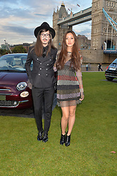 JOSHUA KANE and BETTY BACHZ at the launch of the new remastered Fiat 500 featuring an exclusive performance by Ella Eyre held in Potters Field Park, Southwark, London SE1 on 2nd September 2015.