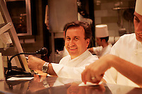 "behind the scenes in the kitchen of the French restaurant ""Daniel"" of French chef Daniel Boulud, in New York....Chef Daniel Boulud ."