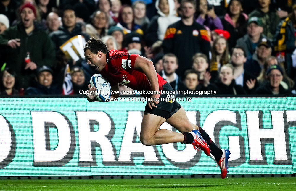 Crusaders' Israel Dagg scores a try during the Super 15 rugby union semi final match, Chiefs v Crusaders at Waikato Stadium, Hamilton on Saturday 27 July 2013.  Photo:  Bruce Lim / Photosport.co.nz