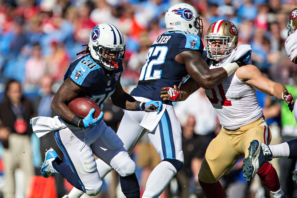 NASHVILLE, TN - OCTOBER 20:  Chris Johnson #28 of the Tennessee Titans runs the ball against the San Francisco 49ers at LP Field on October 20, 2013 in Nashville, Tennessee.  The 49ers defeated the Titans 31-17.  (Photo by Wesley Hitt/Getty Images) *** Local Caption *** Chris Johnson