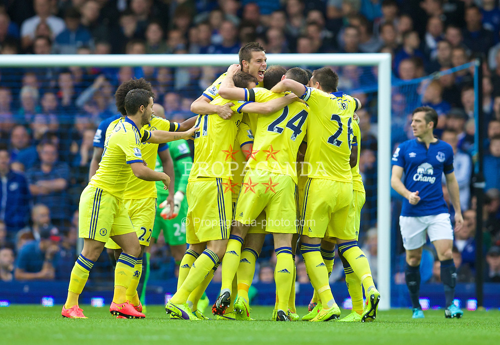 LIVERPOOL, ENGLAND - Saturday, August 30, 2014: Chelsea's Branislav Ivanovic [hidden] is modded by team-mates as he celebrates scoring the second goal against Everton during the Premier League match at Goodison Park. (Pic by David Rawcliffe/Propaganda)