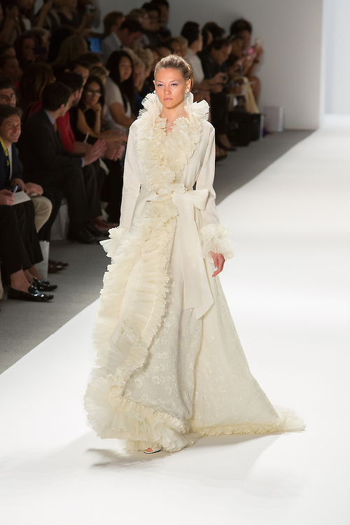 White gown with ruffles. By Zang Toi, shown at his Spring 20132 Fashion Week show in New York.