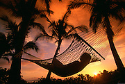 Hammock, Sunset, Maui, Hawaii, USA<br />