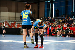 Tjasa Stanko of RK Krim Mercator and Ines Amon of RK Krim Mercator during handball match between RK Zagorje and RK Krim Mercator in Final game of Slovenian Women Handball Cup 2017/18, on April 1, 2018 in Park Kodeljevo, Ljubljana, Slovenia. Photo by Matic Klansek Velej / Sportida