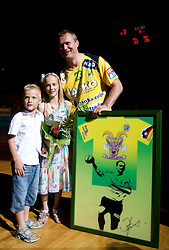 Eduard Koksarov of Celje PL with his children son Sasa and daughter Dina during his farewell ceremony after the handball match between RK Celje Pivovarna Lasko and Trimo Trebnje of last Round of 1st Slovenian Handball league, on May 27, 2011 in Arena Zlatorog, Celje, Slovenia. Celje defeated Trimo 32-28 and win 3rd place in Slovenian National Championship. (Photo By Vid Ponikvar / Sportida.com)