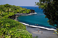 Black Sand Beach, at Waianapanapa State Park in Hana, Maui, Hawaii