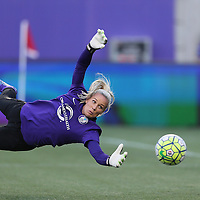 ORLANDO, FL - APRIL 23: Ashlyn Harris #1 of Orlando Pride is seen during warmups prior to a NWSL soccer match against the Houston Dash at the Orlando Citrus Bowl on April 23, 2016 in Orlando, Florida. The Orlando Pride won the game 3-1.  (Photo by Alex Menendez/Getty Images) *** Local Caption *** Ashlyn Harris