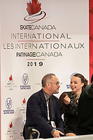 KELOWNA, BC - OCTOBER 25:  Canadian figure skater Alicia Pineault awaits her score at Skate Canada International in the ladies short program at Prospera Place on October 25, 2019 in Kelowna, Canada. (Photo by Marissa Baecker/Shoot the Breeze)