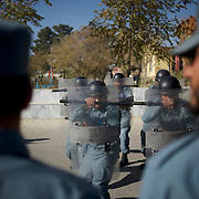 Afghan National Police (ANP) cadets train riot control during morning exercises at the Afghan Nacional Police Academy in Kabul.