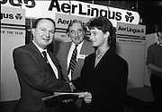 "Aer Lingus Young Scientist Exhibition..1986..10.01.1986..01.10.1986..10th January 1986..The annual Aer Lingus,sponsored,Young Scientists Exhibition was held at the RDS,Ballsbridge,Dublin.The Overall winners of the competition were Ms Breda Maguire and Ms Niamh Mulvany..They are students at The Rosary College,Raheny,Dublin. The Tanaiste, Mr Dick Spring TD was on hand to present the awards...Picture shows Mr Con Power,Director Economic Policy,Conferation Of Irish Industry presenting the CII award for Physical,Mathematical and applied Sciences to Colman Byrnes.Colman, of the Methodist College, Belfast submitted a project entitled ""The Eight Directional Joystick. Also in the picture is Mr Niall G Weldon, Chairman of the judging panel."