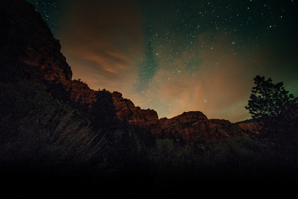 Clouds and Stars in Kolob Canyon, Zion National Park