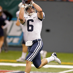 Sep 12, 2009; New Orleans, LA, USA; BYU Cougars wide receiver McKay Jacobson (6) in pregame against Tulane Green Wave at the Louisiana Superdome.  Mandatory Credit: Derick Hingle-US PRESSWIRE