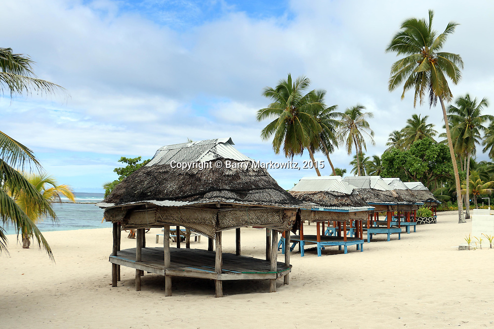 Lesa's Falealupo Beach Fales is a well know tidy fixture in Falealupo Village, Samoa. 1/9/15,  Photo by Barry Markowitz.