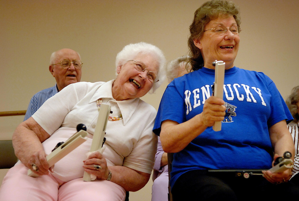 From the back room of the Stephens Lake Activity Center, the soft bell tones of &quot;Somewhere Over the Rainbow&quot; are punctuated with bursts of laughter. Nadine Sargent has hit the wrong note. Again. She laughs at the rare mistake on the shoulder of fellow hand bell player Barb Jackson, who, in turn, gets the giggles.<br /> <br /> At the end of the tune, the group's leader, Cookie Hagen, couldn't be more satisfied. Even with Nadine's missed notes, a missing pianist and only half of her normal group of 30, Cookie is elated. &quot;You sounded really, really good.&quot; She emphasizes the point with a bright smile.<br /> <br /> &quot;Even though we make mistakes, she tries to make us feel good,&quot; Nadine says.<br /> <br /> The group has been active for five years through the Columbia Parks and Recreation Department and the Older American Klub.<br /> <br /> &quot;Our mission is to share music with the Columbia community,&quot; Cookie says. &quot;We welcome anyone who wants to join us.&quot;<br /> <br /> That inclusive atmosphere is on display between practice sessions. The incoming adaptive bell choir greets the outgoing seniors. The group comes together to celebrate August birthdays, chatting on folding chairs in the hallway. Ice cream sandwiches disappear into smiling faces.<br /> <br /> Another successful practice.
