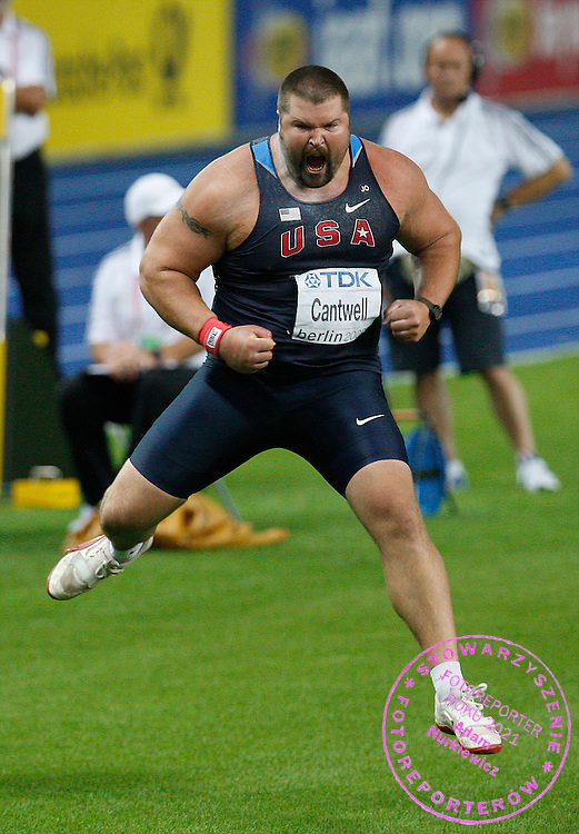 BERLIN 15/08/2009.12th IAAF World Championships in Athletics Berlin 2009.Shot Put Men - Final.Christian Cantwell of the United States celebrates after winning the gold medal in the final of the Men's Shot Put during the World Athletics Championships in Berlin.Phot: Piotr Hawalej / WROFOTO