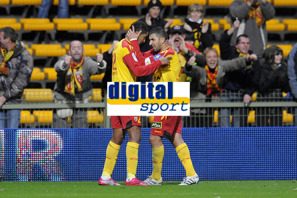 FOOTBALL - FRENCH CHAMPIONSHIP 2010/2011 - L1 - RC LENS v OGC NICE - 23/10/2010 - PHOTO JEAN MARIE HERVIO / DPPI - JOY ISSAM JEMAA / ADIL HERMACH (RCL)