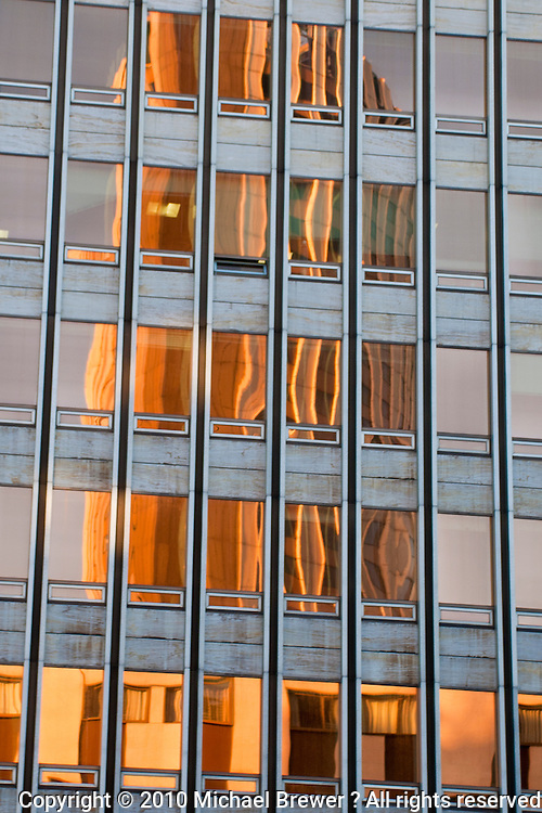 Refelction of the Concord La Fayette Hotel, Paris - reflection in an office building window.
