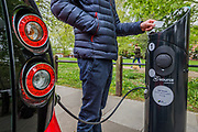 SSE Enterprise provides green energy for SOurce London car recharging points - here at Brook Green, West London.