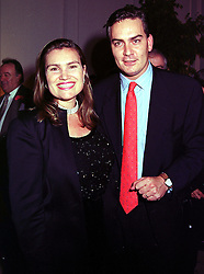MRS TARIQ WILDMAN and her brother MR TONY O'REILLY jnr children of the leading Irish businessman Tony O'Reilly, at a party in London on 7th October 1999.MXI 35